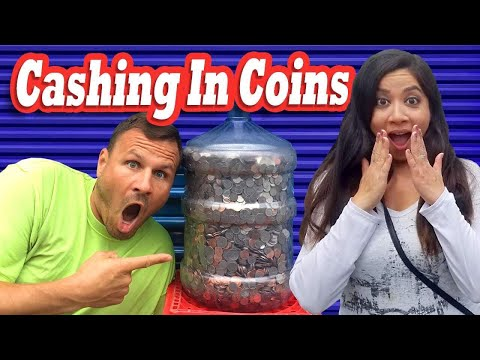 Cashing In A Water Jug Of COINS   HOW MUCH DID WE GET? / I Bought An Abandoned Storage Unit