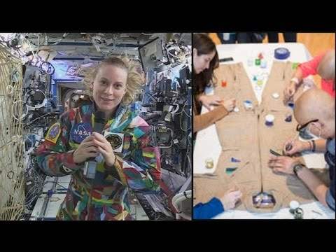 Astronaut Wears Colorful Spacesuit Designed by Cancer Patient Kids