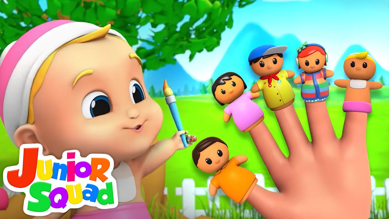 The Finger Family Song   Baby Finger   Mommy Finger   Nursery Rhymes and Kids Song with Junior Squad