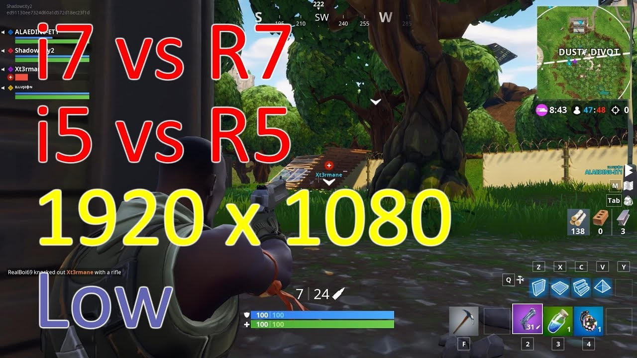 [1080p Low] Fortnite i7-8700K vs Ryzen 2700X vs i5-8600K vs Ryzen 2600X