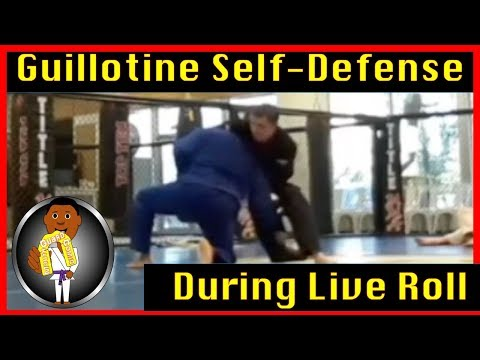 Guillotine Self Defense In Live BJJ Roll (Gracie Combative Technique in Live Roll) at Smiley Academy