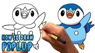 How to Draw Piplup from Pokemon (NARRATED)