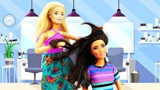 Барби работает в Салоне красоты - Игры прически и макияж онлайн - Видео для девочек