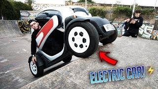 ELECTRIC CAR AT THE SKATEPARK!