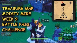 FOLLOW THE TREASURE MAP FOUND IN MOISTY MIRE (FORTNITE BR BATTLE PASS WEEK 9 CHALLENGE) | Zycres