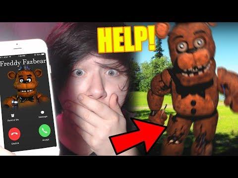 CALLING FNAF FREDDY FAZBEAR & FREDDY ANSWERS!! GONE WRONG HE BREAKS INTO MY HOUSE!!