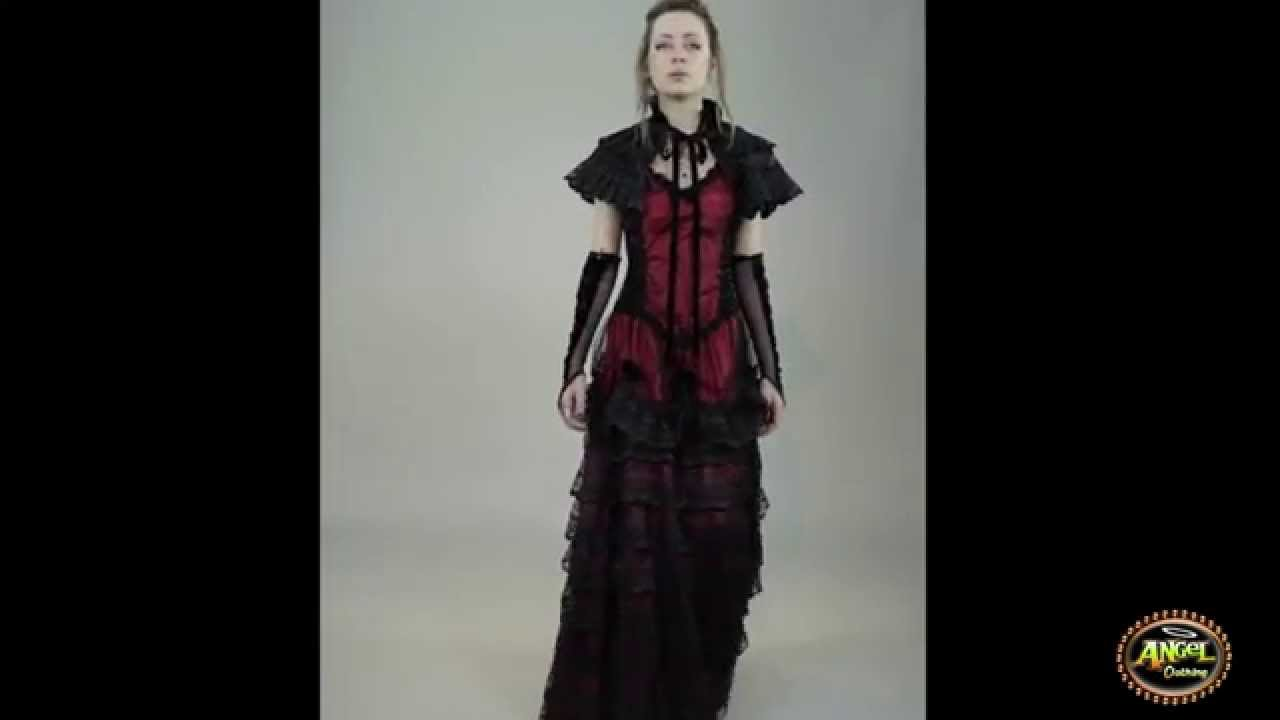 Sinister Sleeveless Gothic Gown with Lace Skirt, Matching Cape ...