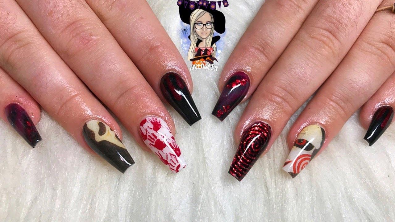 Halloween acrylic nails ~ scream nails ~ jigsaw nails ...