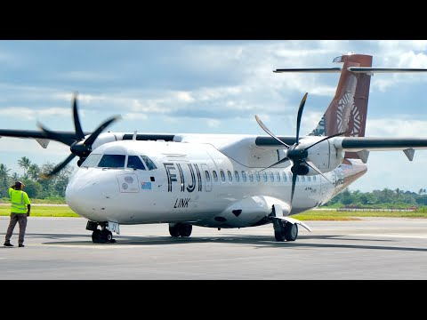 Onboard an ATR-72-600 with Fiji Link from Nadi to Suva - FJ7 Trip Report (4K GoPro Hero 8 Black)