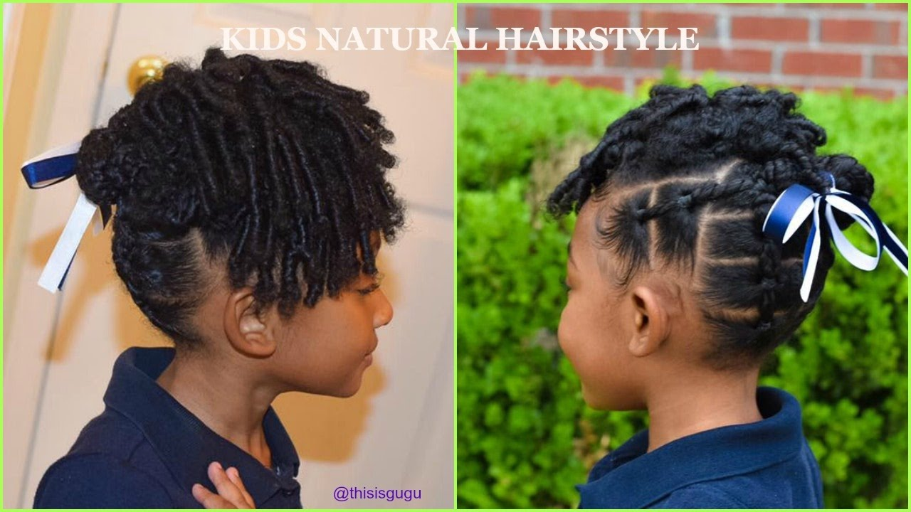 kids natural hairstyles: easy little girls rubberband braids(beginner friendly) back to school