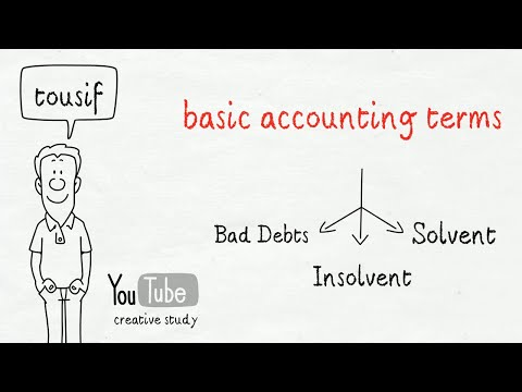 Basic Accounting Terms |  Bad Debts, Insolvent & Solvent | Class 11