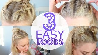 3 QUICK AND EASY HAIR STYLE Space Buns and 'Man Buns?!' | Charlotte Davis