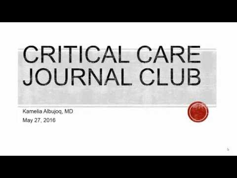 Critical Care Journal Club: Dexmedetomidine Added to Standard Care on Ventilator-Free Time 05272016