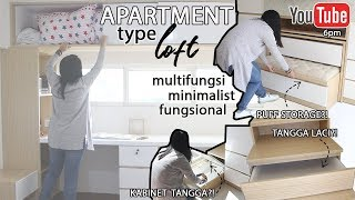 Interior Desain Minimalis Furniture Serbaguna Apartemen Tipe Loft  2 Lantai