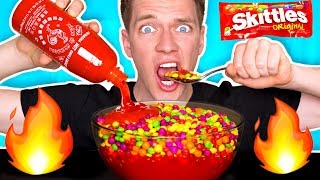 WEIRD Food Combinations People LOVE!!! *HOT SAUCE & SKITTLES* Eating Funky & Gross DIY Foods Candy