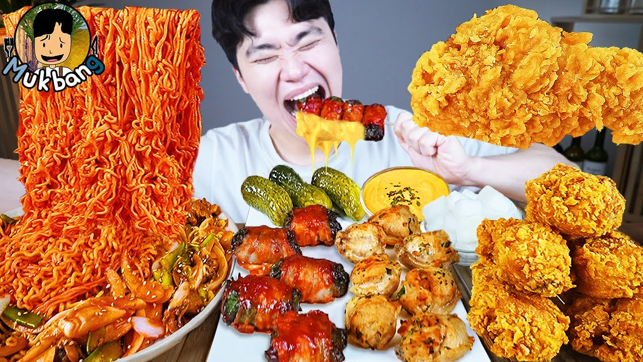 ASMR MUKBANG 불닭볶음면 & 치즈 & 치킨먹방! FIRE Noodle & FRIED CHICKEN & CHEESE STICK EATING SOUND!