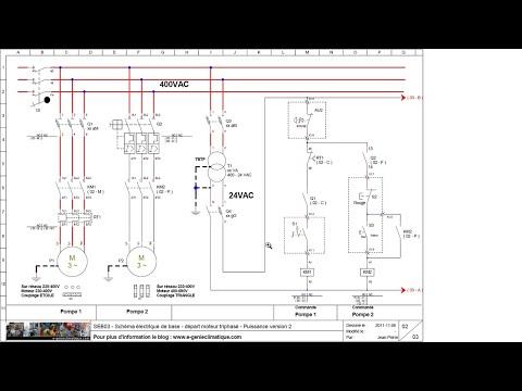 SEB03 Schéma électrique - départ moteur triphasé démarrage direct - puissance version 2.
