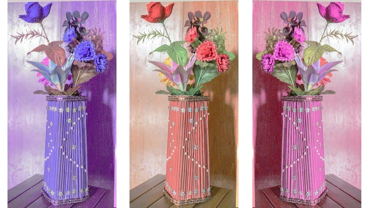 How to make flower vase with newspaper and cardboard home how to make flower vase with newspaper and cardboard home decoration idea best out of waste reviewsmspy