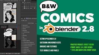 B/W çizgi roman oluşturmak için 2.8 Blender Kullanarak gres kalem