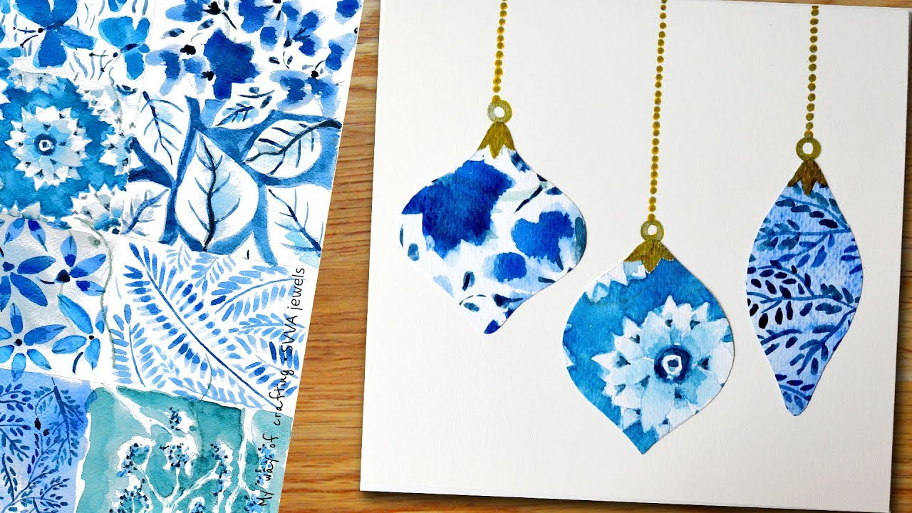 chic blue white watercolor greeting card for christmas holiday seasons or new year greetings