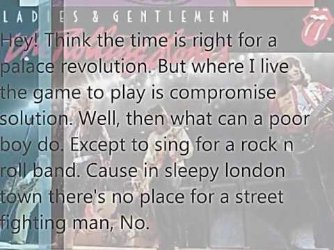 The Rolling Stones Street Fighting Man Lyrics (Incomplete)