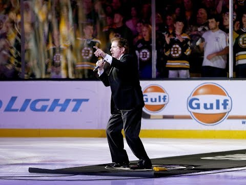 Rene Rancourt receives standing ovation following National Anthem from Boston Bruins fans