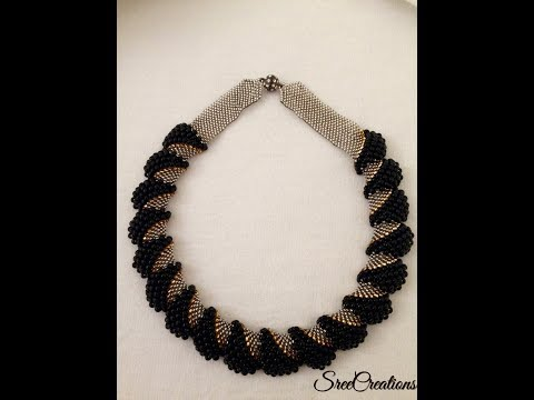 How to make Flat Cellini Stitch Beaded Necklace(TUTORIAL)