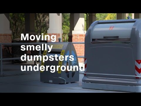 Moving smelly garbage dumpsters underground