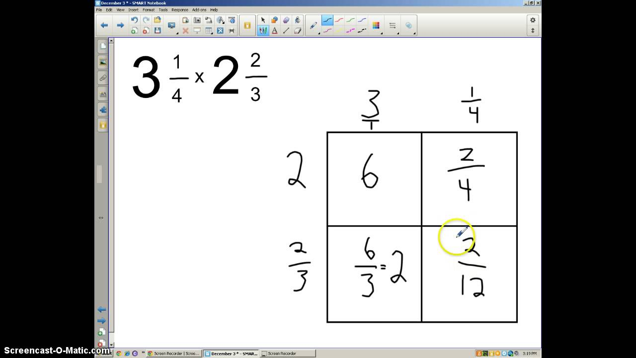 worksheet How To Multiply Mixed Numbers multiplying mixed numbers with the area model youtube model