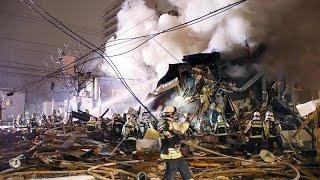 انفجار يتسبب بهدم مبنى في اليابان والشرطة ترجح أن يكون جراء تسرب غازي…