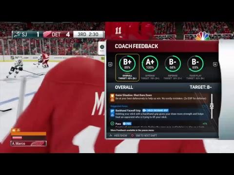 NHL 17 en PS4 1080p HD Be A Pro San Jose Sharks vs Detroit RedWings PlayOffs 2017 #13