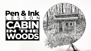 Landscape Drawing with Pęn and Ink - Cabin