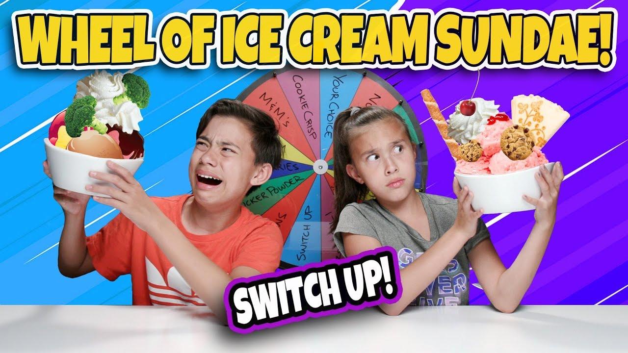MYSTERY WHEEL OF ICE CREAM SUNDAE CHALLENGE!!! Switch Up w Broccoli!!