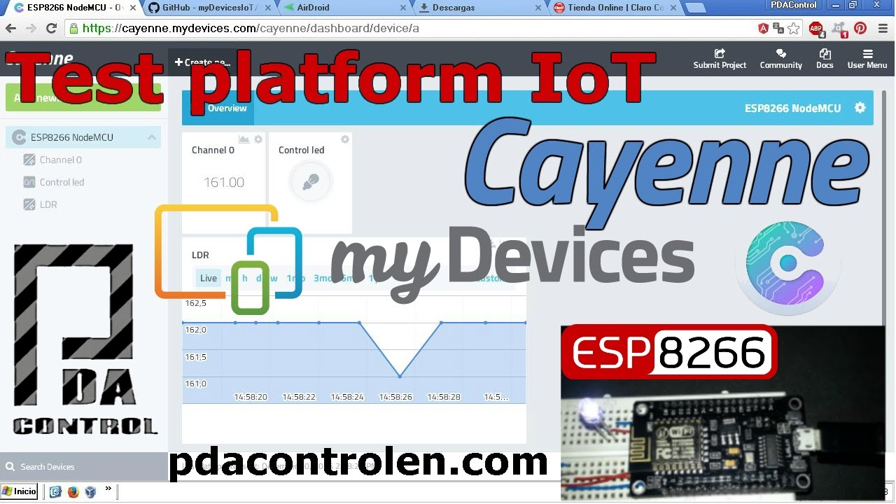 Tutorial Platform IoT Cayenne my devices and ESP8266 Part 1/2 : PDAControl