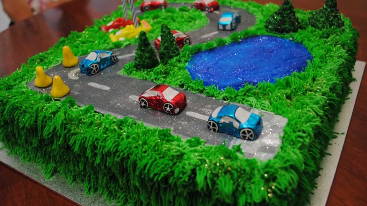 Cake Decorating Car Race Track : race track cake - YouTube