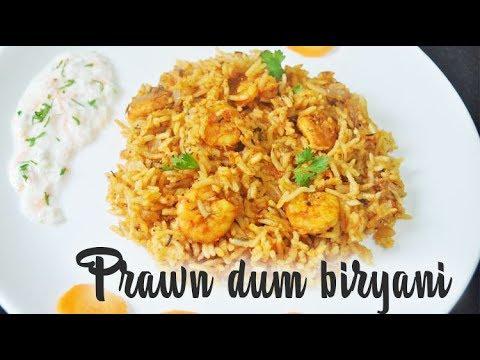 Prawn dum biryani recipe | How to make prawn biryani