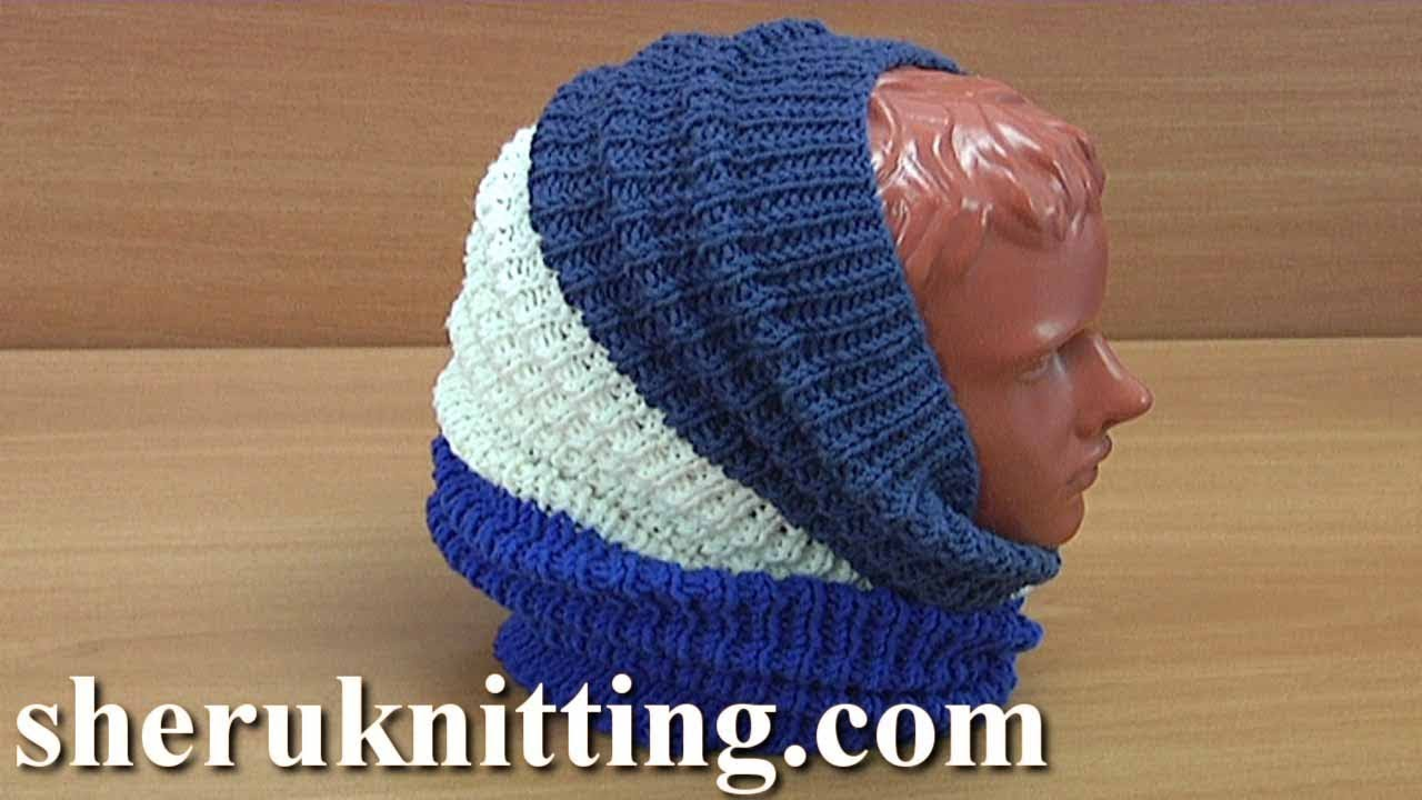 How To Knit Snood Scarf Instruction 255 Rolled Stitch Pattern Youtube