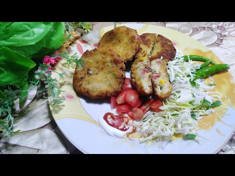 Corn Patties Recipe || Vegetable And Corn Cutlets By Hungry Helpers