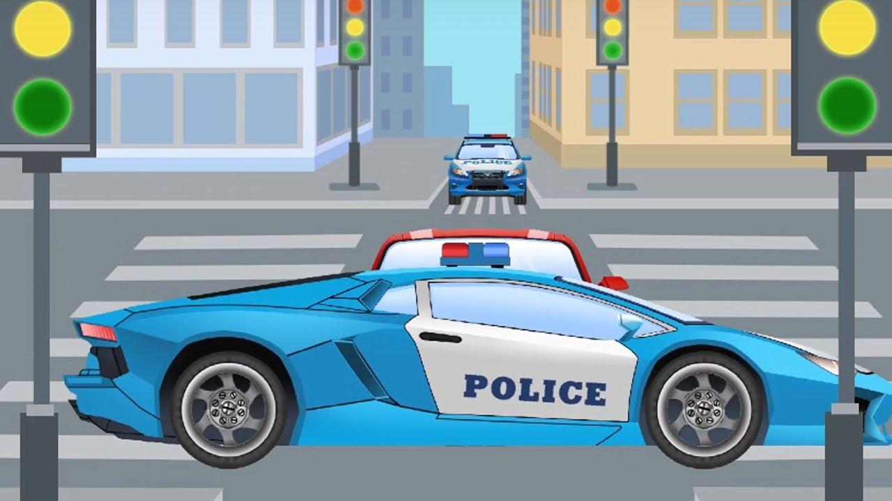 La voiture de police bleu et ses amis dessin anim pour petits vid o ducative pour enfants - Voiture police dessin anime ...