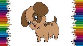 Cómo dibujar un lindo bebé perro paso a paso | perro de dibujos animados de dibujo fácil