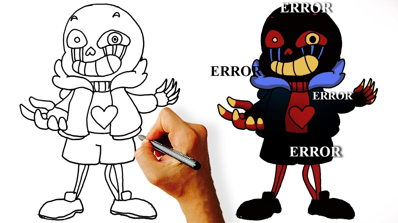 how to draw sans step by step easy