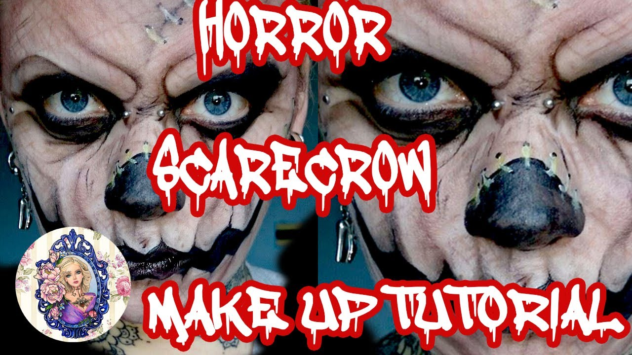 horror scarecrow halloween make-up - YouTube