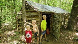 Bushcraft Log Cabin Summer Camping & Swimming