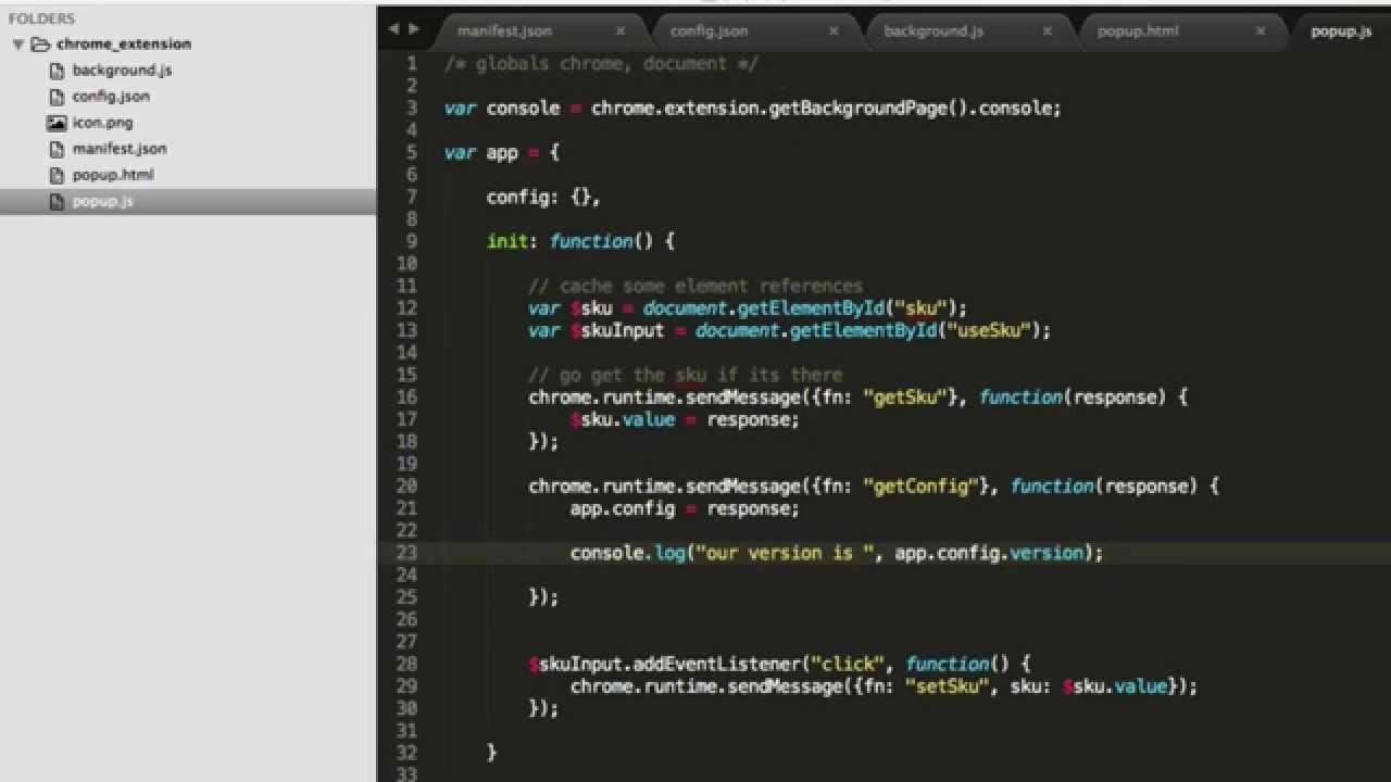 Chrome Extension - Using a Config json file