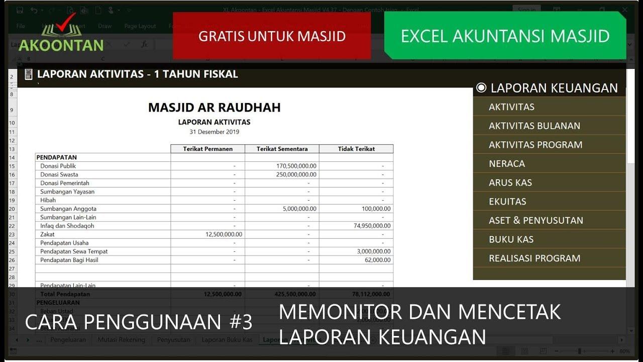 Excel Akuntansi Masjid Menyiapkan Laporan Keuangan Youtube