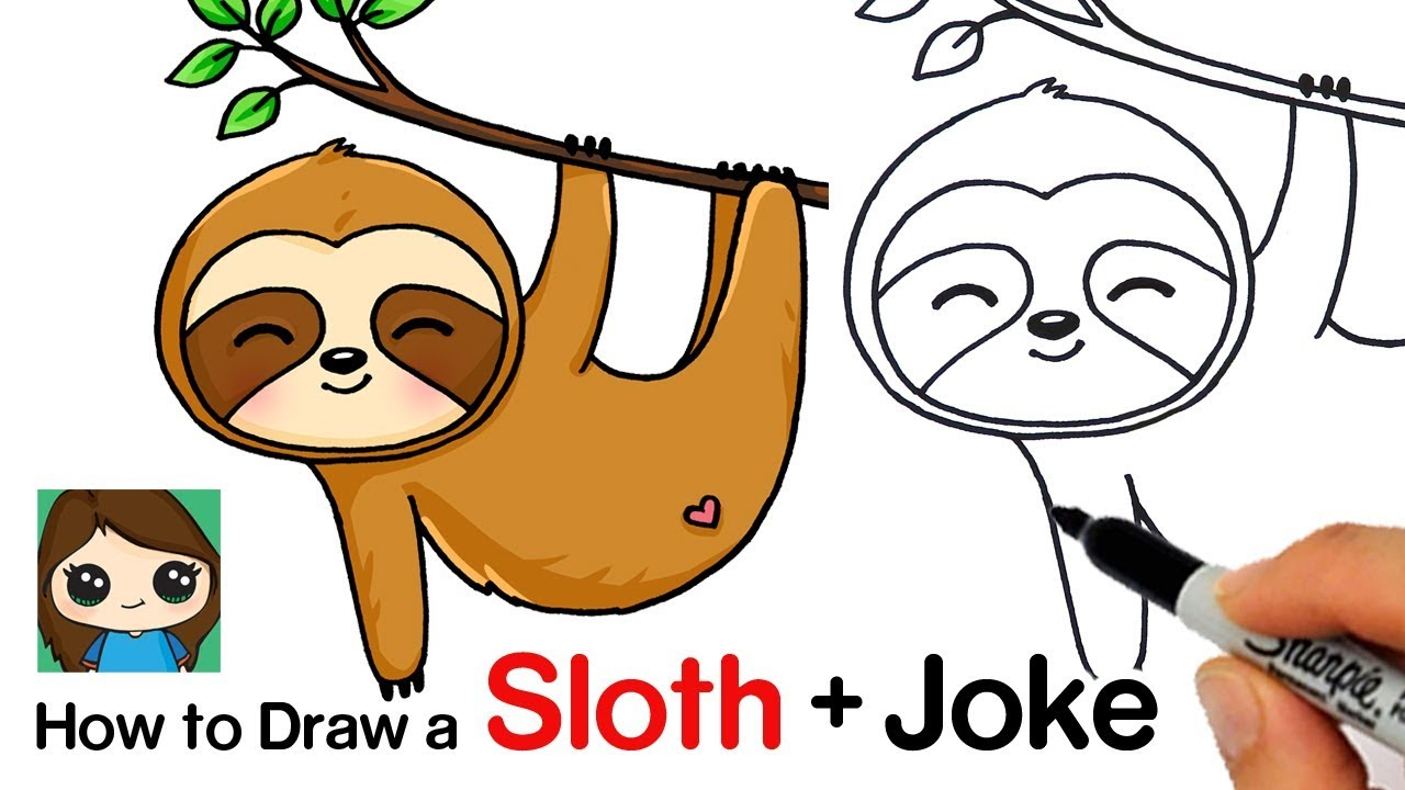 It is a photo of Genius Sloth Drawing Cute