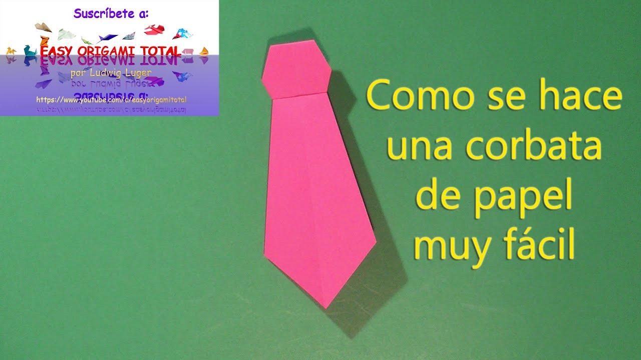 como se hace una corbata de papel muy facil por easy origami total ...