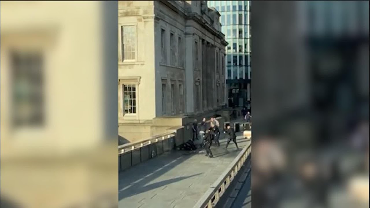Video shows UK stabbing suspect on London Bridge
