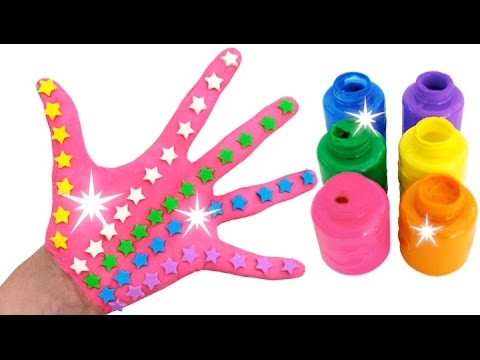 Learn Colors for Children Body Paint Play Doh Stars Candy Toys Finger Family Nursery Rhymes