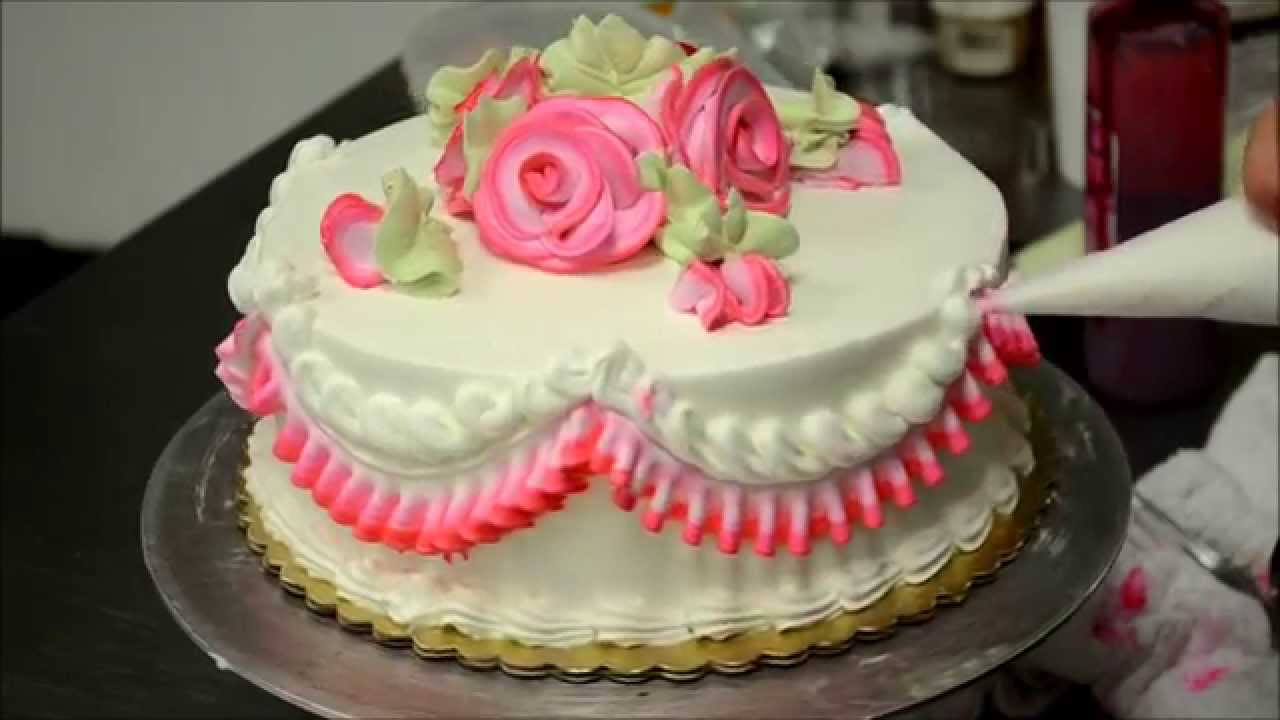 Cake Decorating Cream Flowers : Basic Rose Swirl Cake With Whipped cream frosting Tutorial ...